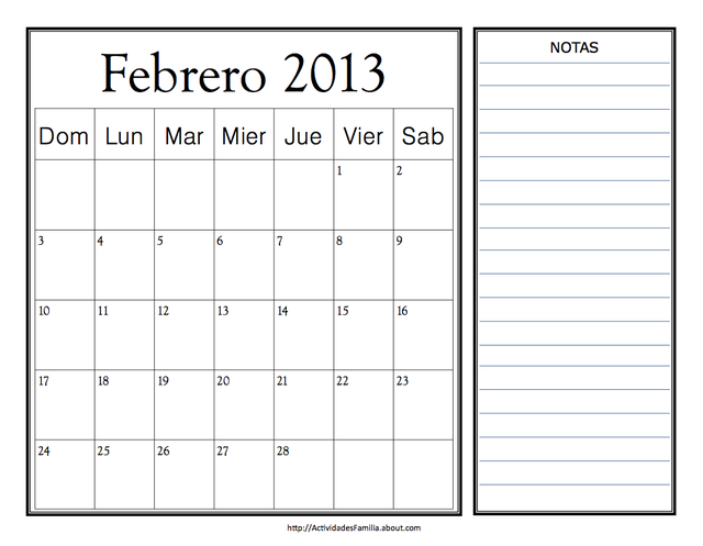 Calendarios de 2013 para imprimir, con espacio para notas: Calendario de Febrero 2013