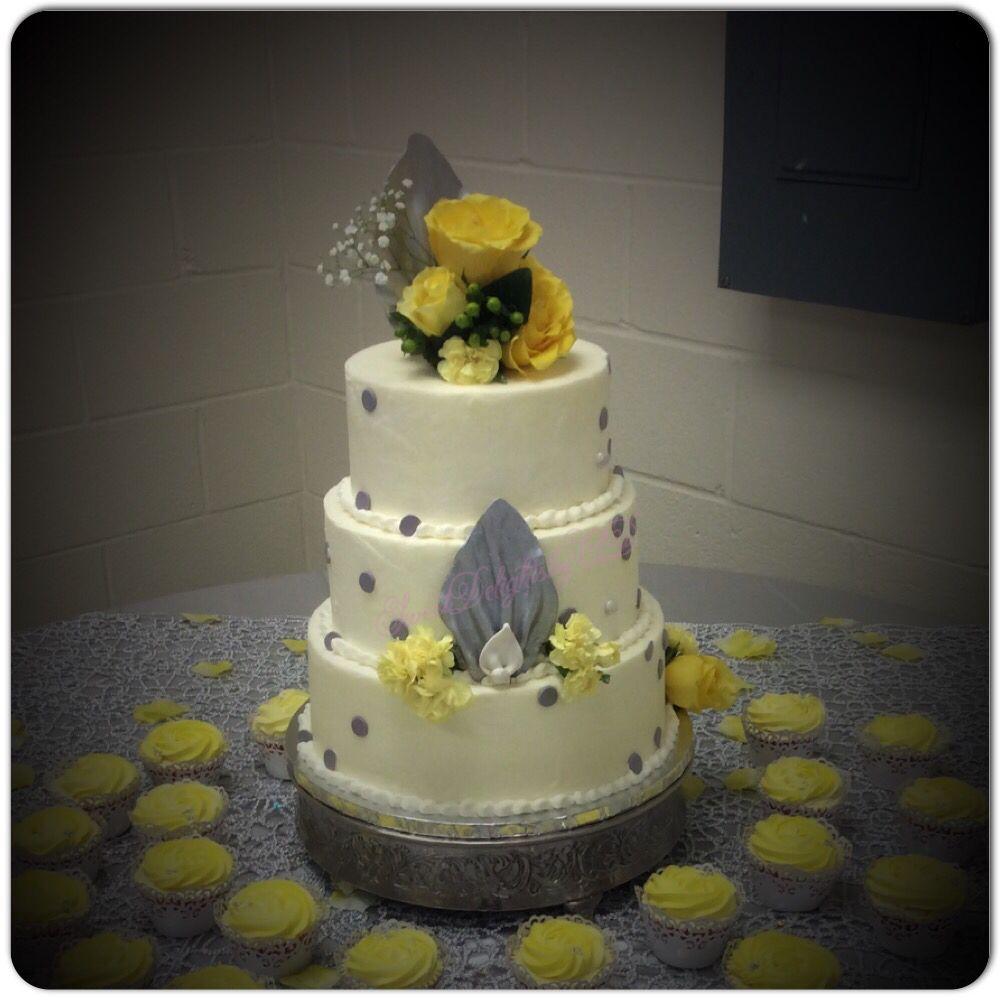 Silver u yellow wedding cake sweetdelightsbyad satx