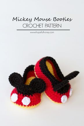 Mickey Mouse Inspired Baby Booties Crochet Pattern | Zapatitos bebe ...