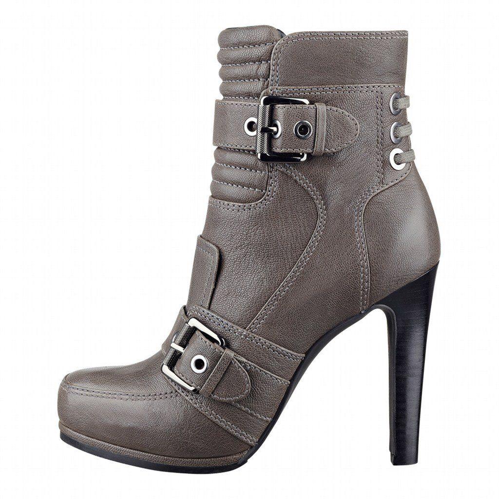 footgift #bottine femme grise en cuir a talon haut avec des