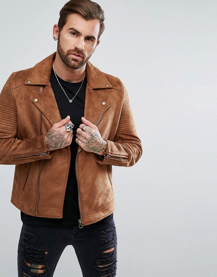 7ede8363bf6 ASOS Faux Suede Biker Jacket In Tan Men Fashion and Female Style. Klick to  see the Price