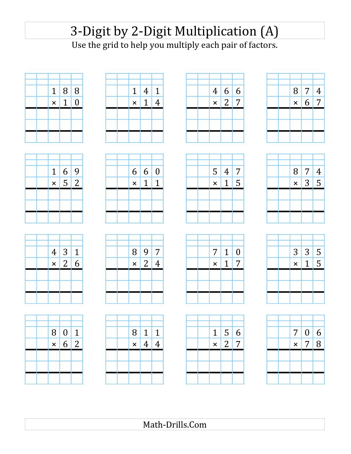 3 digit by 2 digit multiplication with grid support a math worksheet freemath kids math. Black Bedroom Furniture Sets. Home Design Ideas