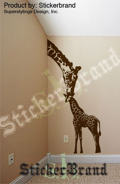 vinyl wall decal sticker baby giraffe w/ mother 8ft big   for the