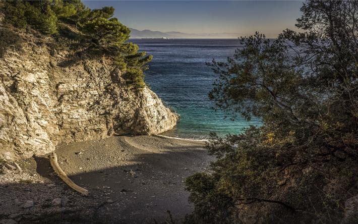 Lataa kuva rannikolla, aamulla, sunrise, Välimerelle, ranta, merimaisema