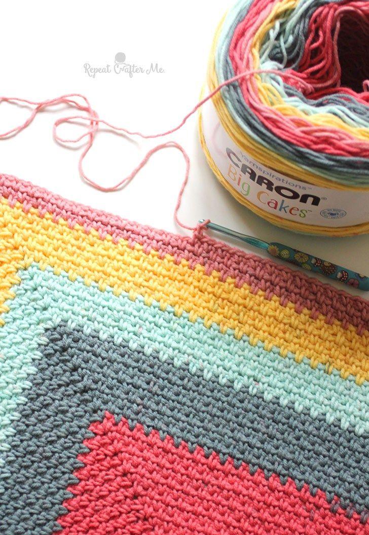 Crochet Caron Big Cakes Moss Stitch Shawl | Wool | Pinterest ...