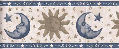 STAR SUN AND MOON WALLPAPER BORDER Wallpaper border
