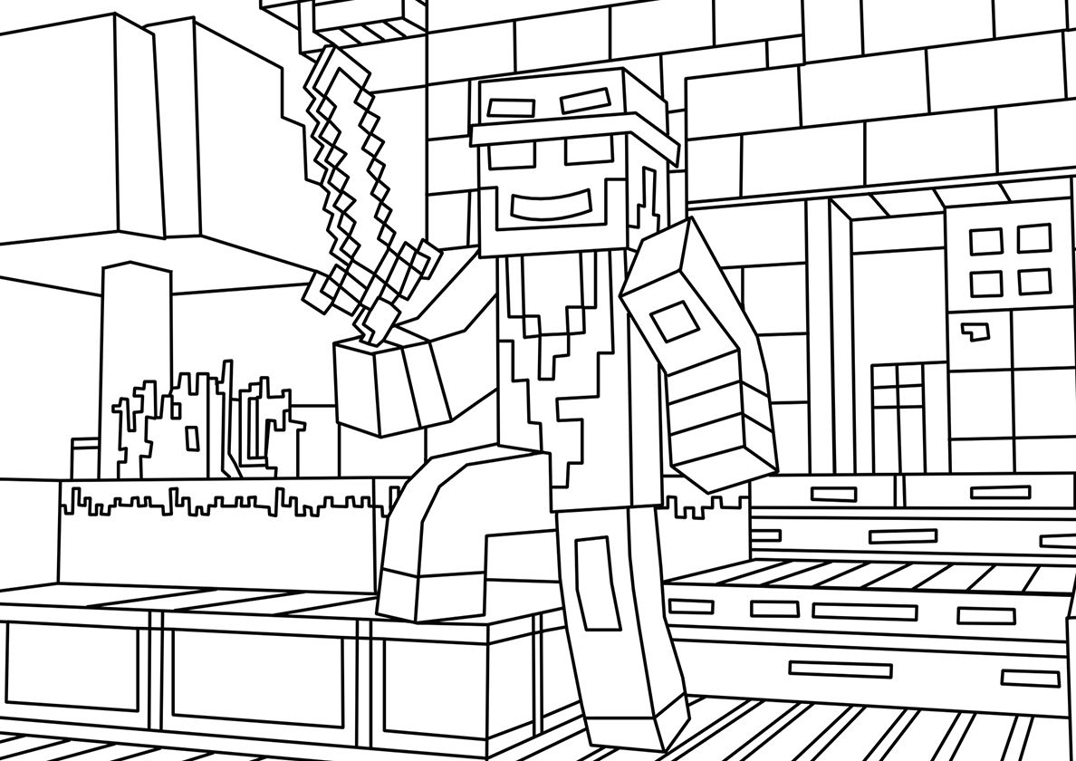 Steve Guards The House High Quality Free Coloring From The Category Minecraft More Pr Minecraft Coloring Pages Minecraft Printables Airplane Coloring Pages