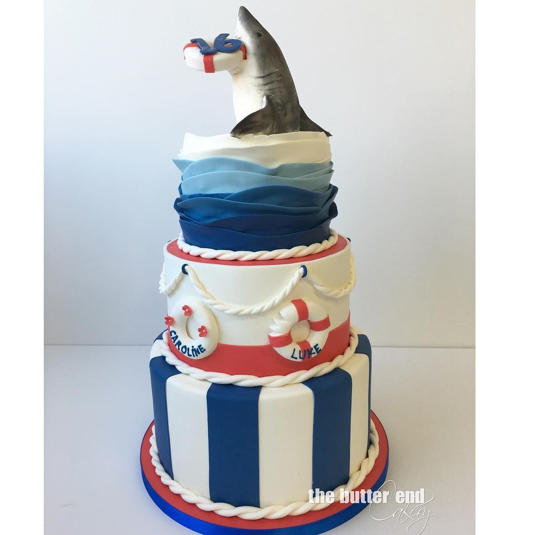 Twin 16th Birthday nautical cake with 3D sculpted shark by The