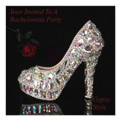 Sparkle Heel & Rose Bachelorette Party Invitation - wedding invitations cards custom invitation card design marriage party