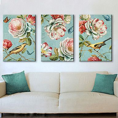 Animal Botanical Canvas Print Other Artists Set Stretched Three Panels Ready To Hang Get Wonderful Discounts Up At Light In The Box