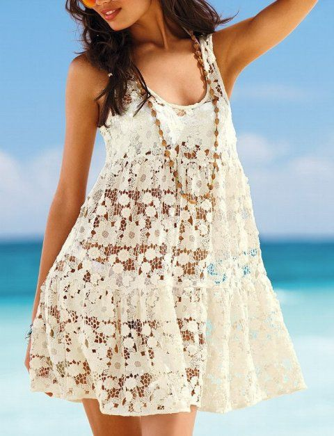 Pretty floral crochet beach cover up-dress in cream color