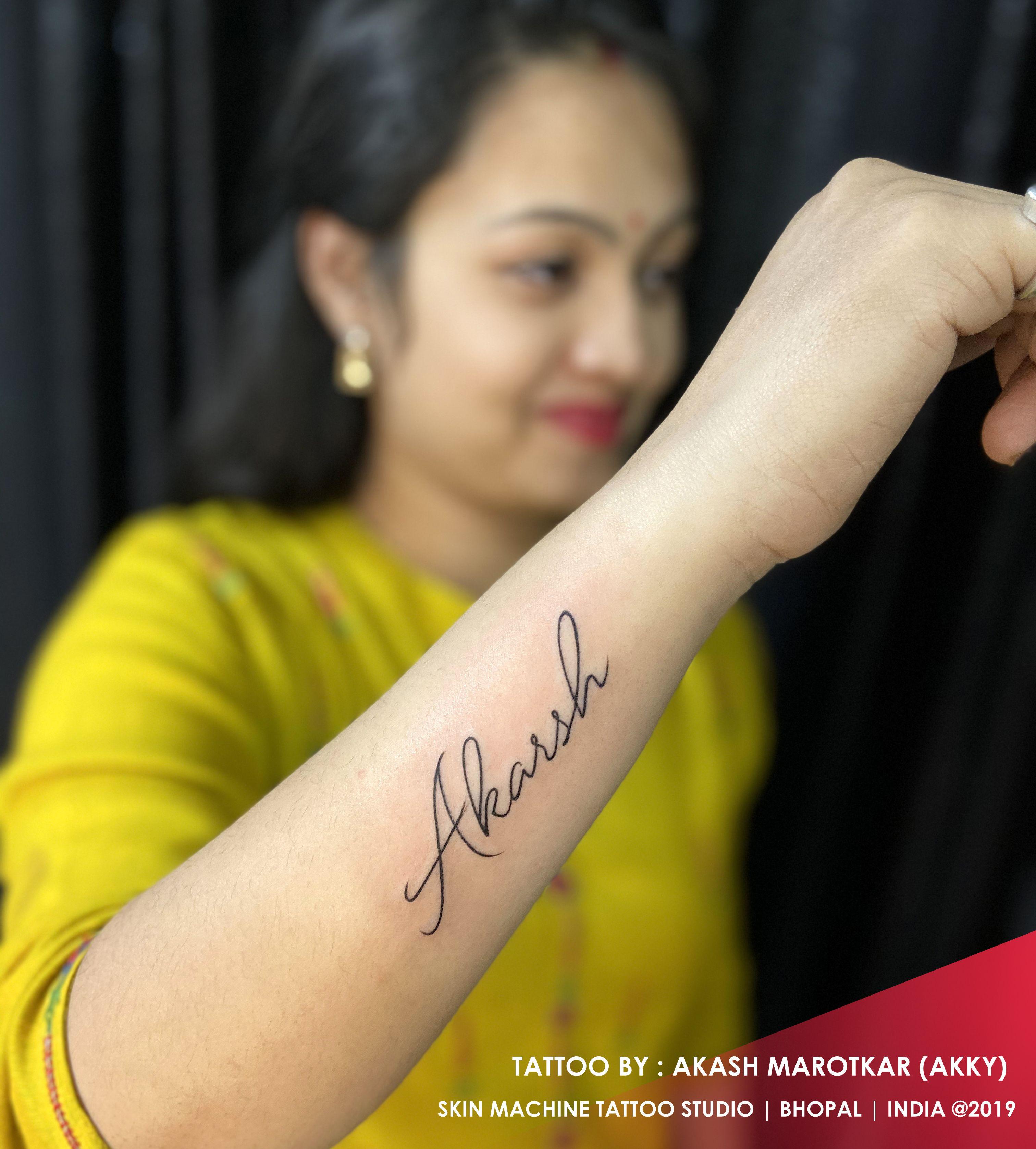 Name tattoo done by Akash marotkar (akky) SKIN MACHINE