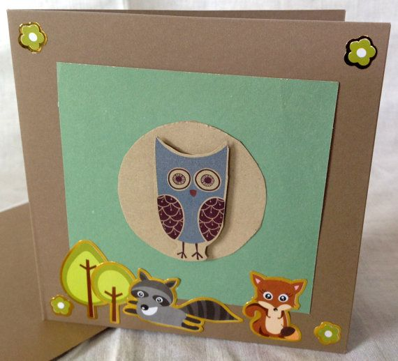 Blue Owl  Handmade Card  Any Occasion  cute by RogueKissedCraft, $4.00