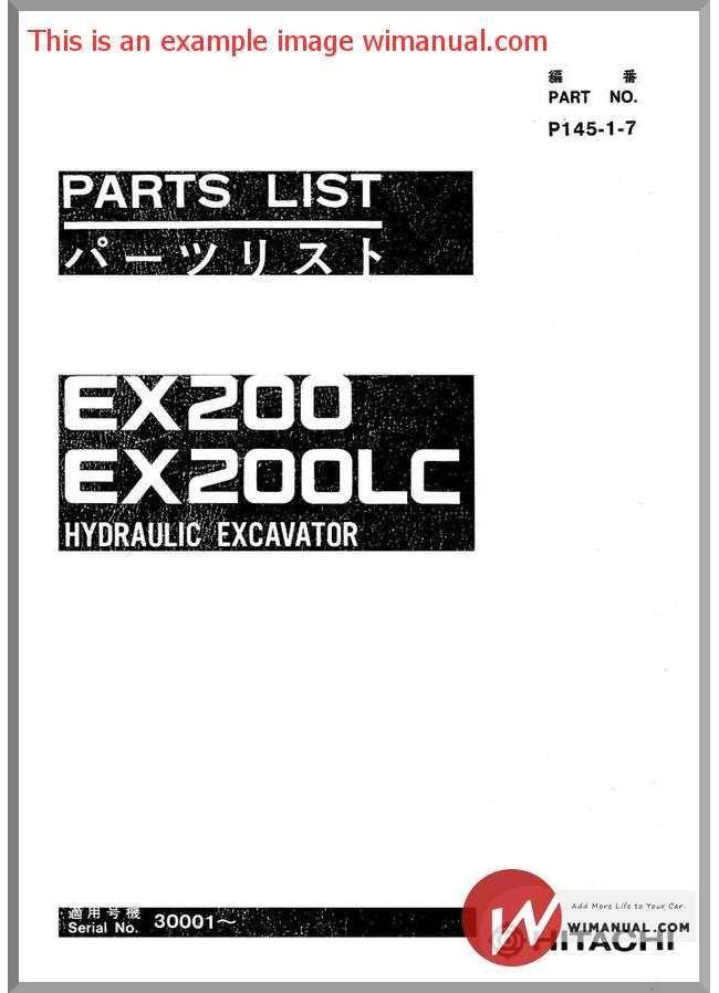 Hitachi Ex200 200lc Hydraulic Excavator Part Catalog