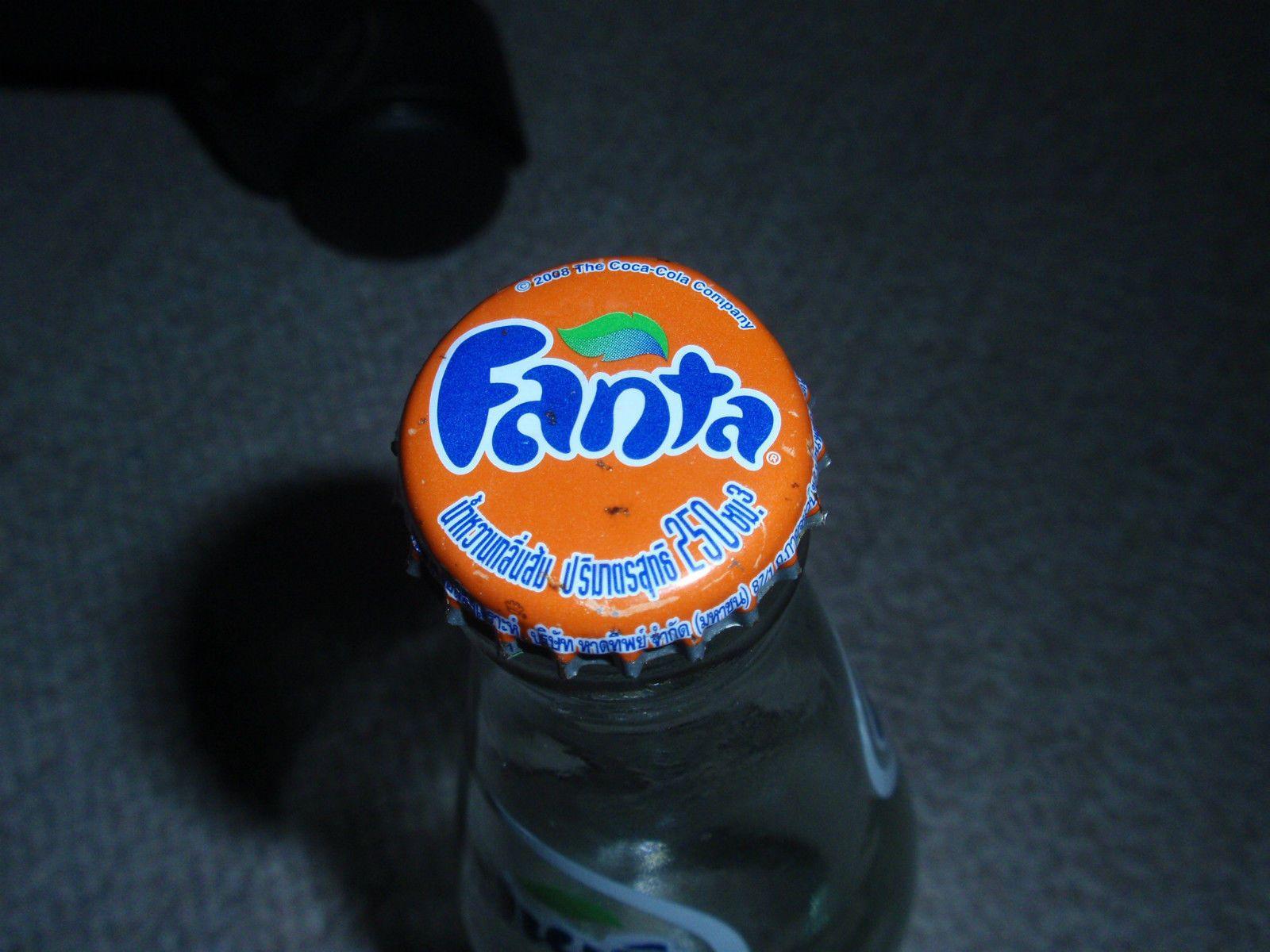 Fanta Camerette ~ 2013 thailand fanta glass bottle w top cap orange rare