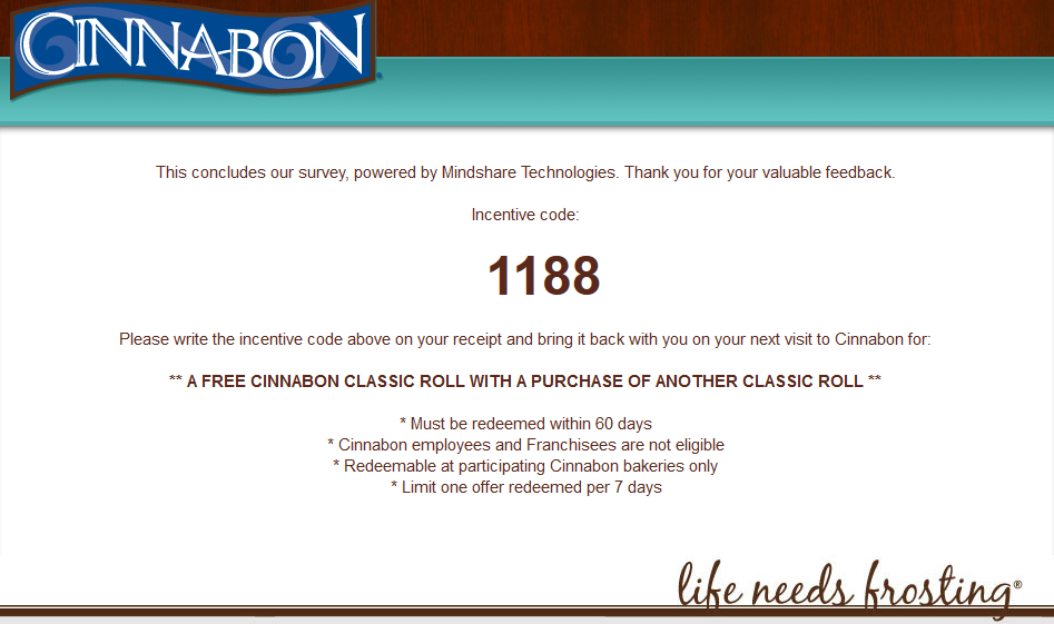 Cinnabon Incentive Code  Customer Survey    Cinnabon