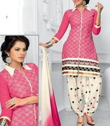 Buy Radiant Cotton Embroidered Patiala Suit Dress Material With ...