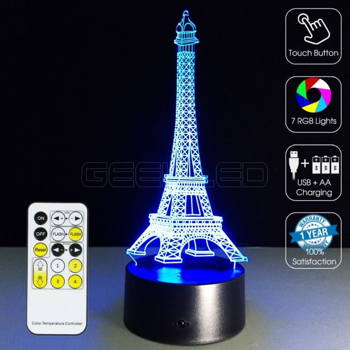 3d Eiffel Tower Optical Lamp Geekled Led Lamp Design 3d Optical Illusions 3d Illusion Lamp