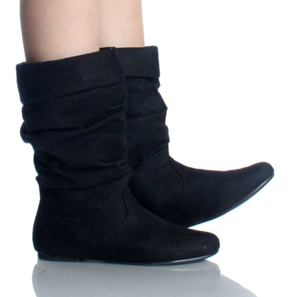 Wide Calf Slouch Boots | Black Suede Fold Over Slouch Round Toe ...