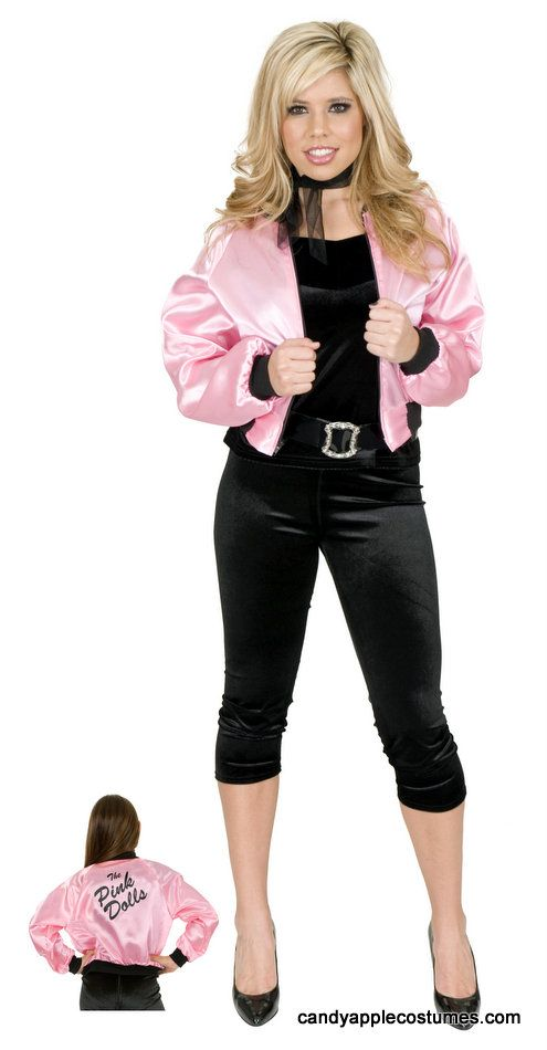 9e273e25832 Adult 50 s Pink Satin Jacket - Pink Ladies - Candy Apple Costumes ...