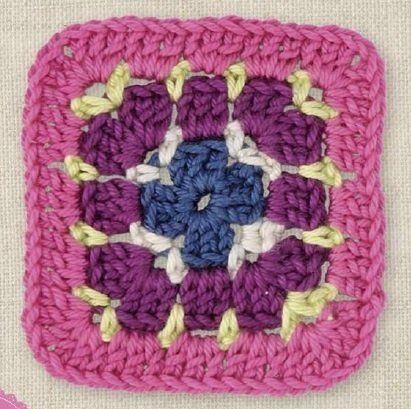 Цветные квадраты крючком