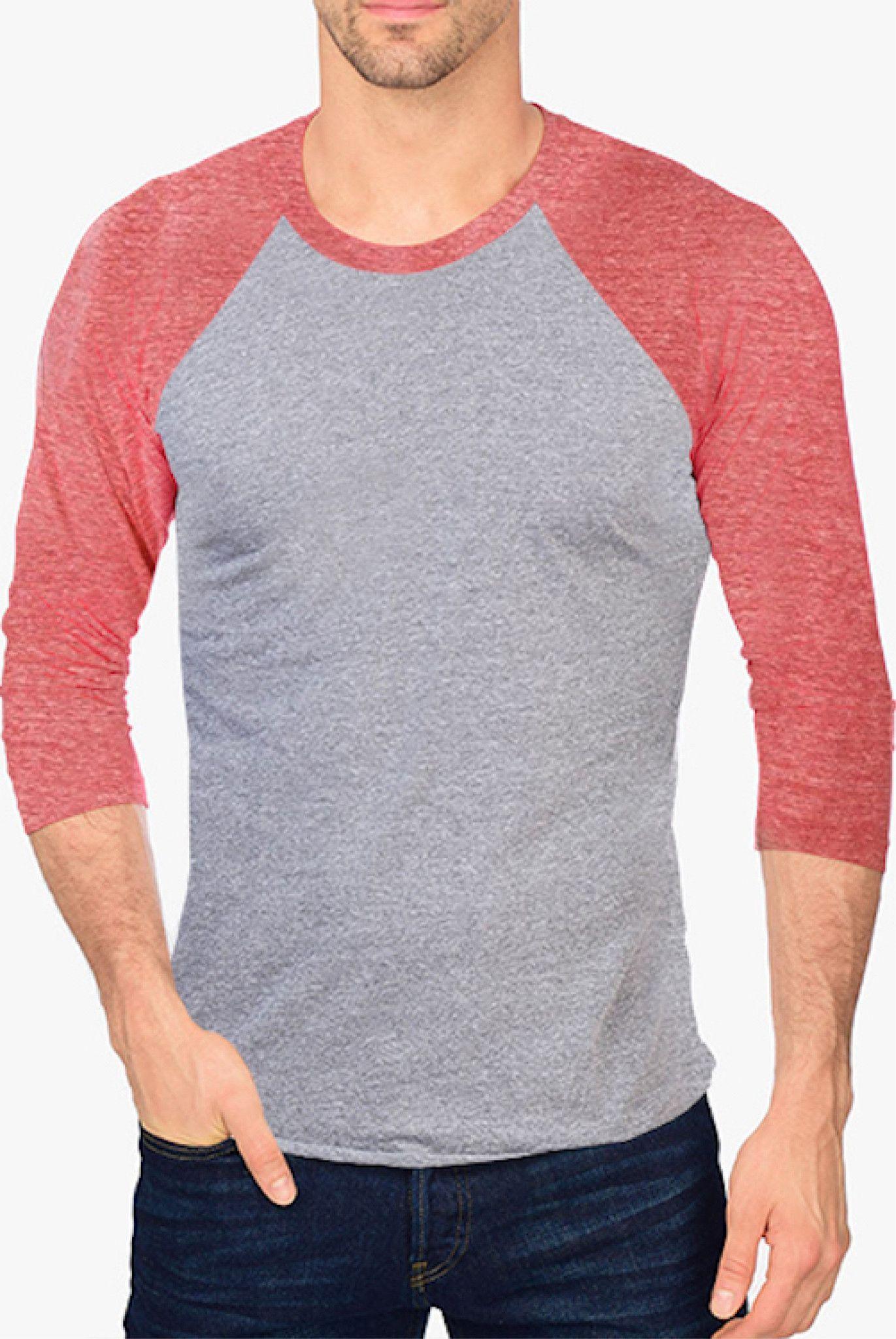 Men's Tri-Blend Raglan shirt with 3/4 Sleeve
