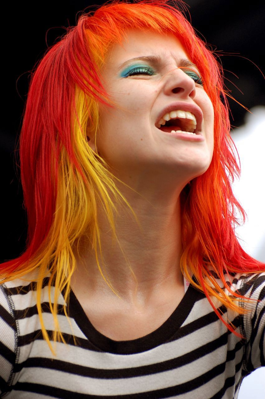 Hayley with red and yellow hair very bright my things