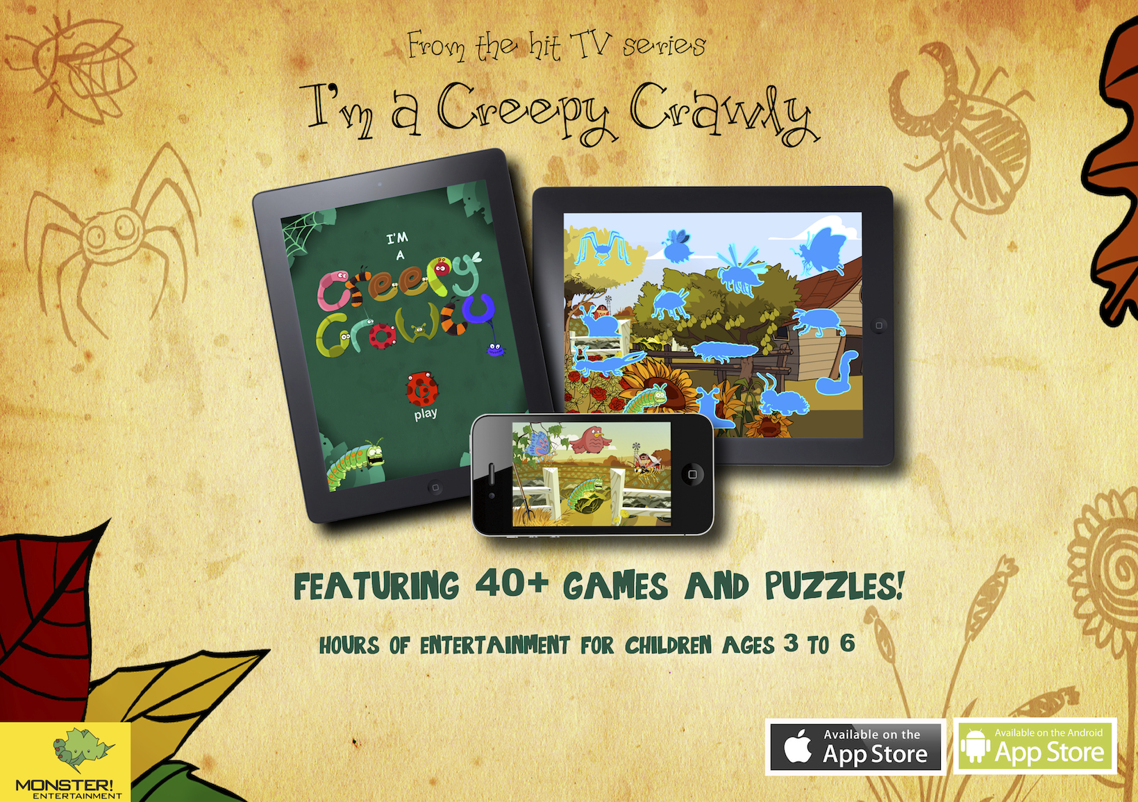 I'm a Creepy Crawly' is a fun and exciting app aimed at