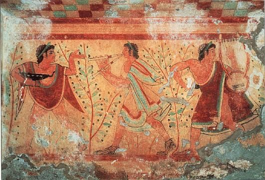 5th c. Etruscan Tomb of The Leopards, Tarquinia. Banquet ... | 531 x 361 jpeg 60kB
