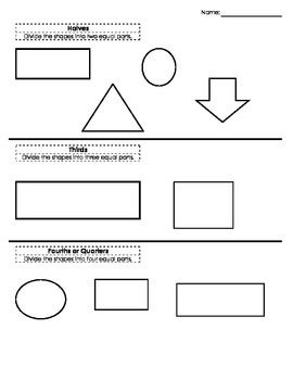 simple worksheet for students to practice partitioning shapes aaa math pinterest. Black Bedroom Furniture Sets. Home Design Ideas