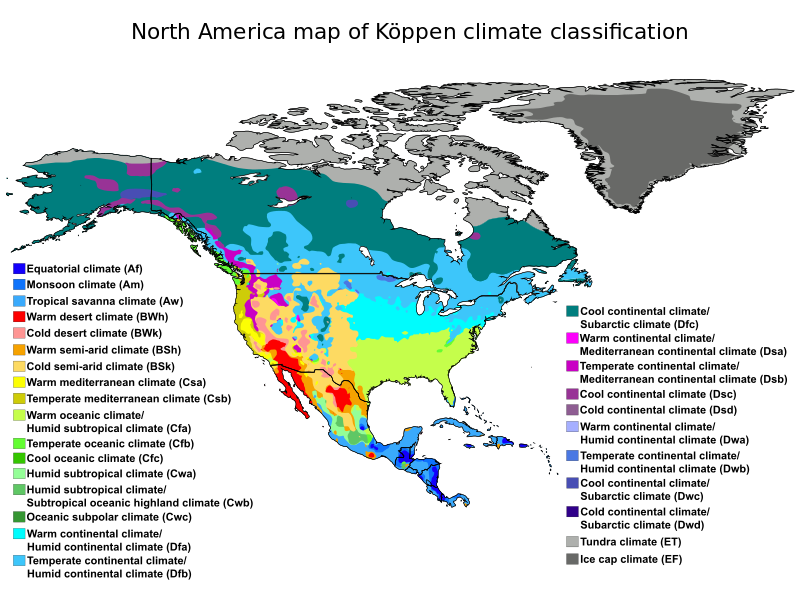 North America map of Köppen climate classification