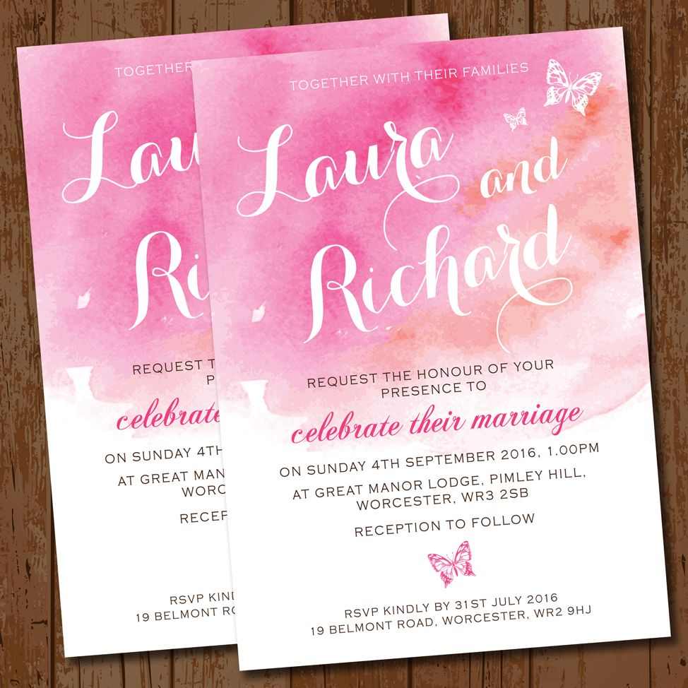 Watercolour Pink Butterflies Wedding Invitation   Dream wedding ...