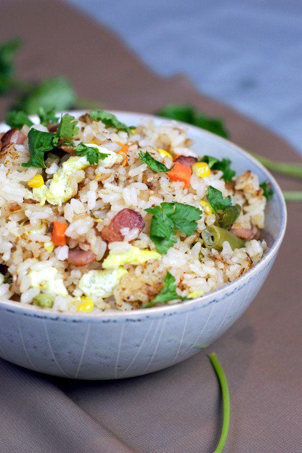 Restaurant Quality Bacon Fried Rice - Delicious by Design #seasonedricerecipes