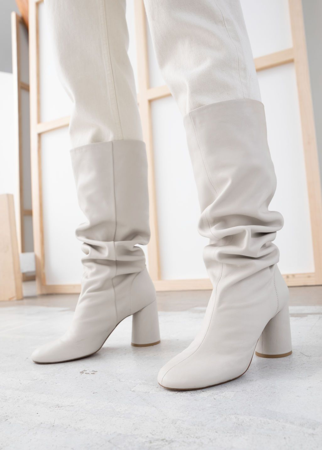 Boots, Leather boots, White knee high boots