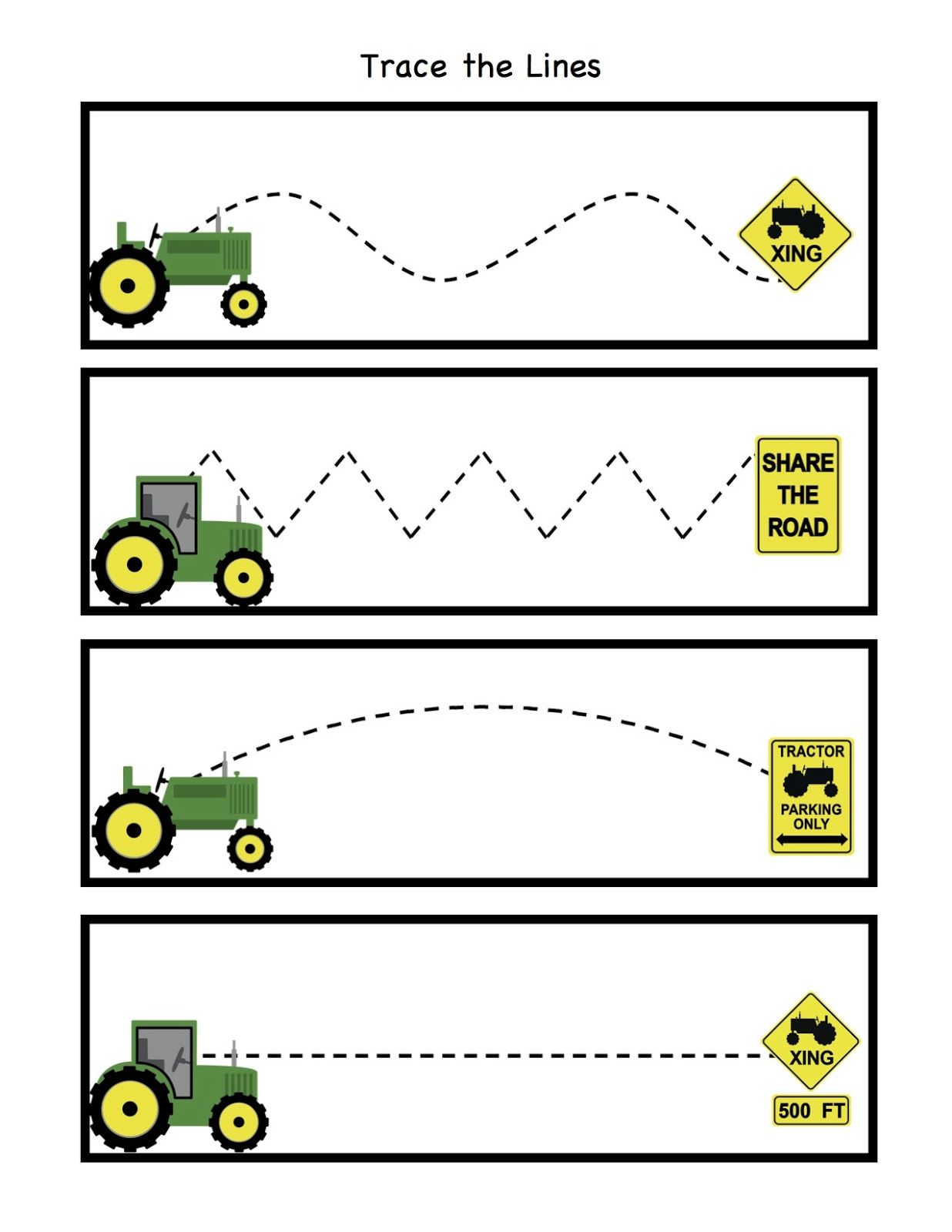 Tractor trace the lines kindergarten pinterest for Tractor art projects