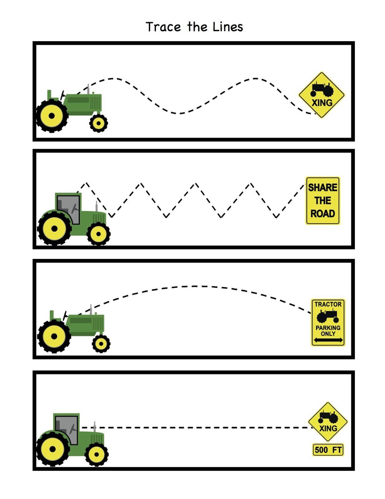 Line Art For Kindergarten : Tractor trace the lines kindergarten pinterest