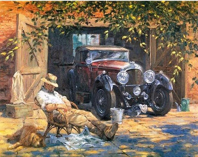 Relaxed Man And Classic Car Vintage Painting Paint By Number