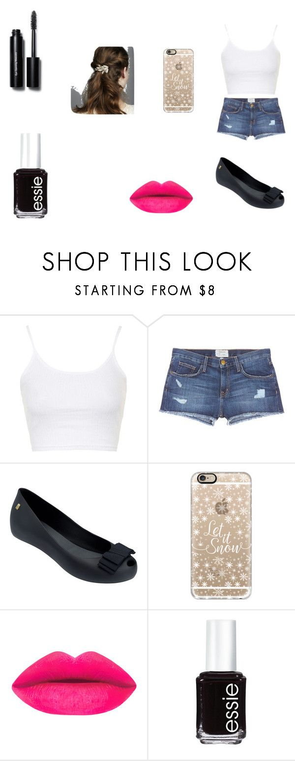 """Untitled #51"" by rafaela-pontes-medeiros ❤ liked on Polyvore featuring Topshop, Current/Elliott, Melissa, Casetify, Essie and Bobbi Brown Cosmetics"
