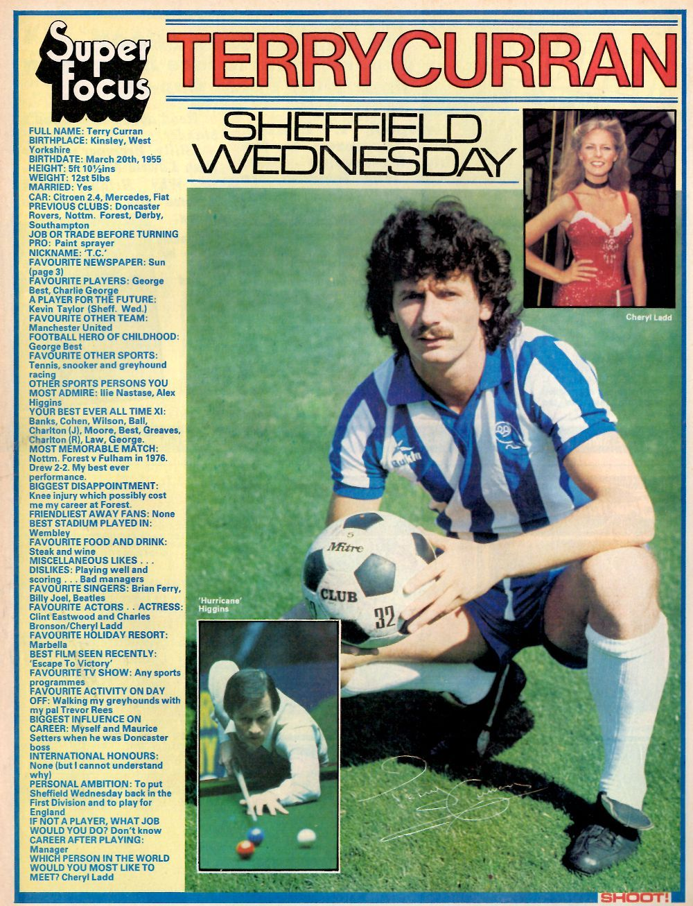 Super Focus of Terry Curran of Sheffield Wed with Shoot ...