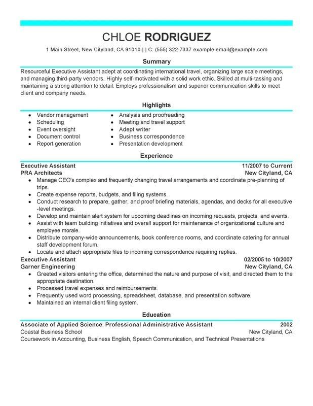 Administrative Assistant Resume Sample Executive Administrative Assistant Resume Sample  Monster With .