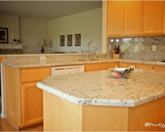Traditional Kitchen Design With Colonial Gold Granite Countertops For  Kitchen Island And Kitchen Table Also