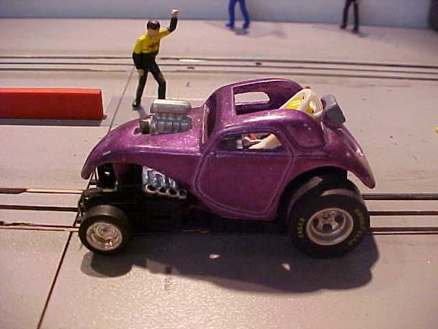HO slot car, custom blown fuel Altered, Fiat resin body