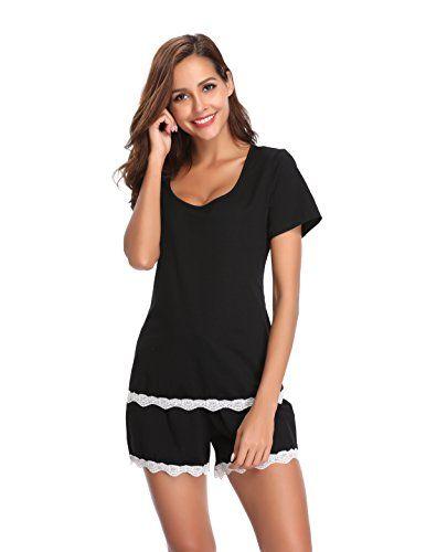 Luvrobes Women s Lace Trim 2-Piece Cotton Short Sleeve Pajama Set ... 3dc94eb39