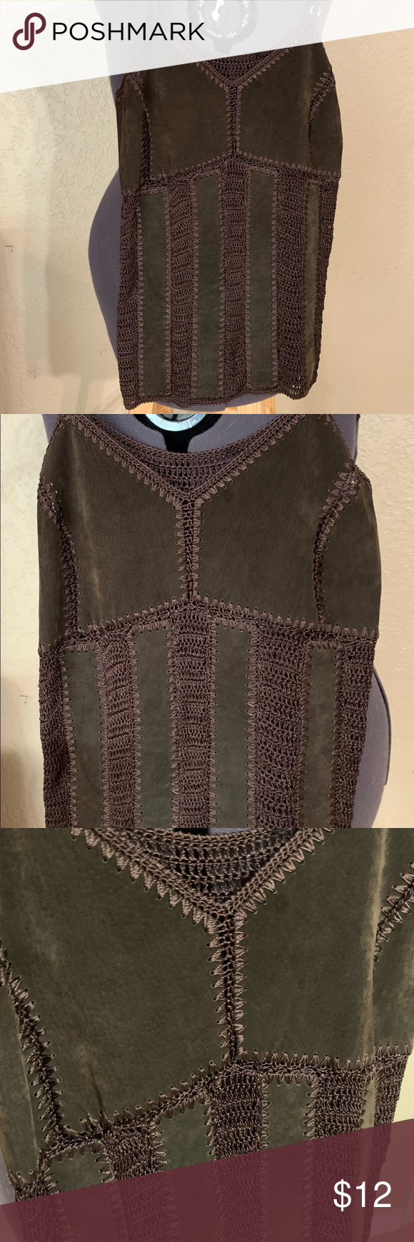 Leather/Crochet Brown Tank Top Cool off this summer in this stylish tank, covered with leather in all the right places, adjustable leather straps, good condition. Tops Tank Tops #crochettanktops