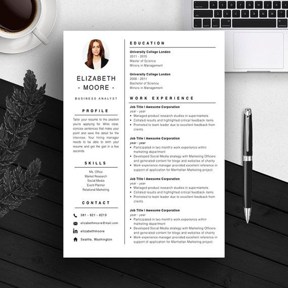 Resume Template CV Template Cover Letter For MS Word / iWork - resume templates word mac