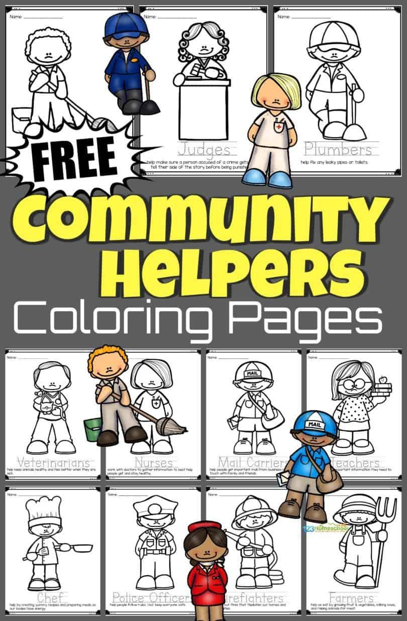 Free Community Helpers Coloring Pages Community Helpers Preschool Activities Community Helpers Kindergarten Community Helpers Theme