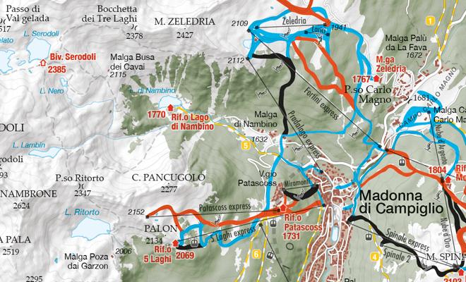 Mappa piste sci Madonna di Campiglio Pinzolo Folgarida