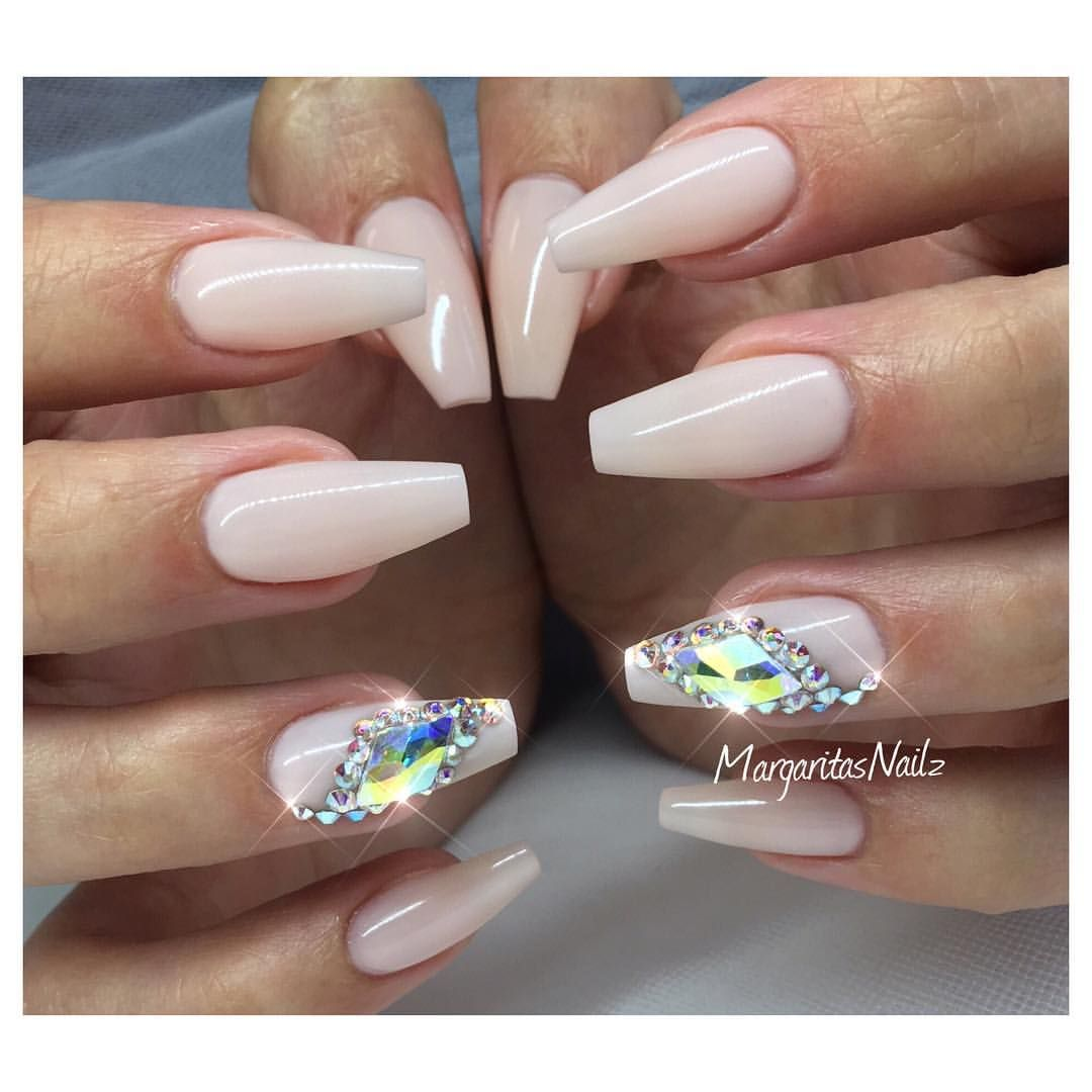 Nude coffin nails fall fashion Swarovski bling nail design ...