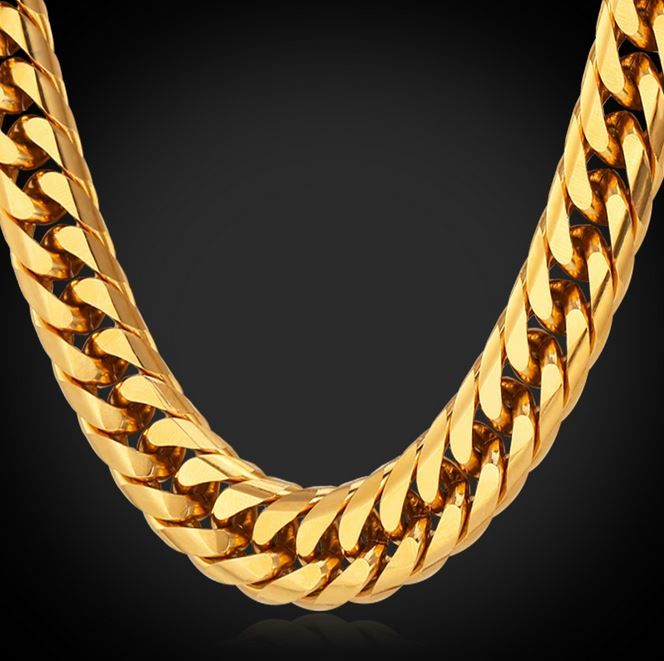 Gold Necklace for women Gift Unisex Gold Chain,24K Gold Color Chain For Men Unisex Chain Thick Gold NecklaceBracelet Set