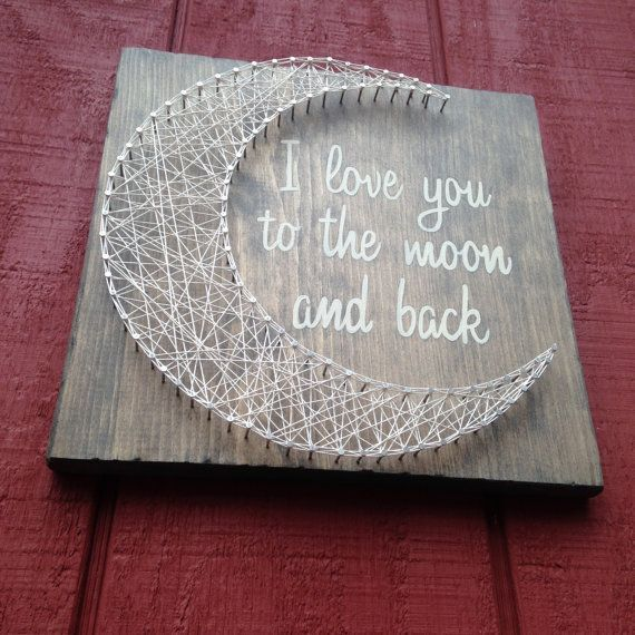 I love you to the h and back - String Art - Moon - Gift for child - Handmade - Wooden Moon - Rustic Love - Wooden Sign - Nail Art